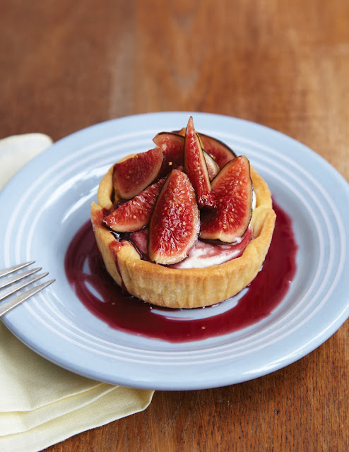 Jenny McCoy's Fresh Fig Tartlets with Goat Cheese & Red Wine Syrup