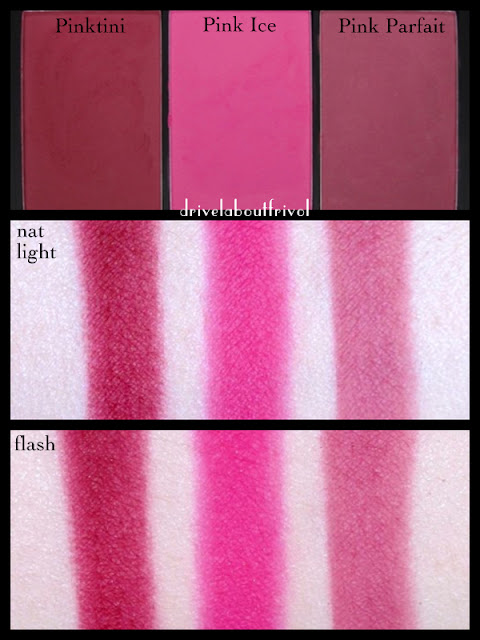 swatch Sleek Blush by 3 trio pink sprint pinktini pink ice pink parfait
