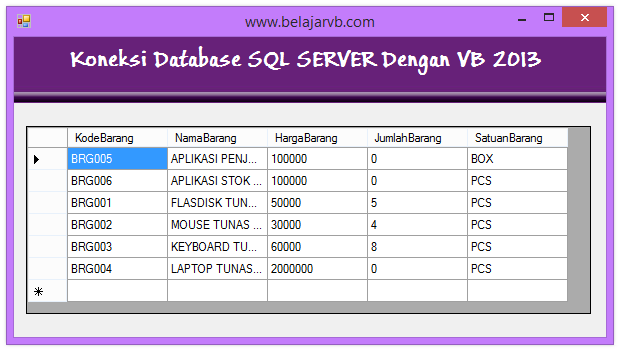 Belajar VB 2013 | Tutorial Visual Basic 2013 | Cara Koneksi Database SQL Server VB 2013