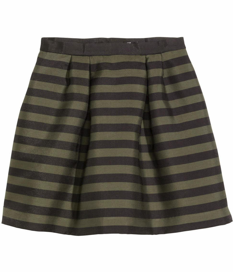 khaki stripe skirt