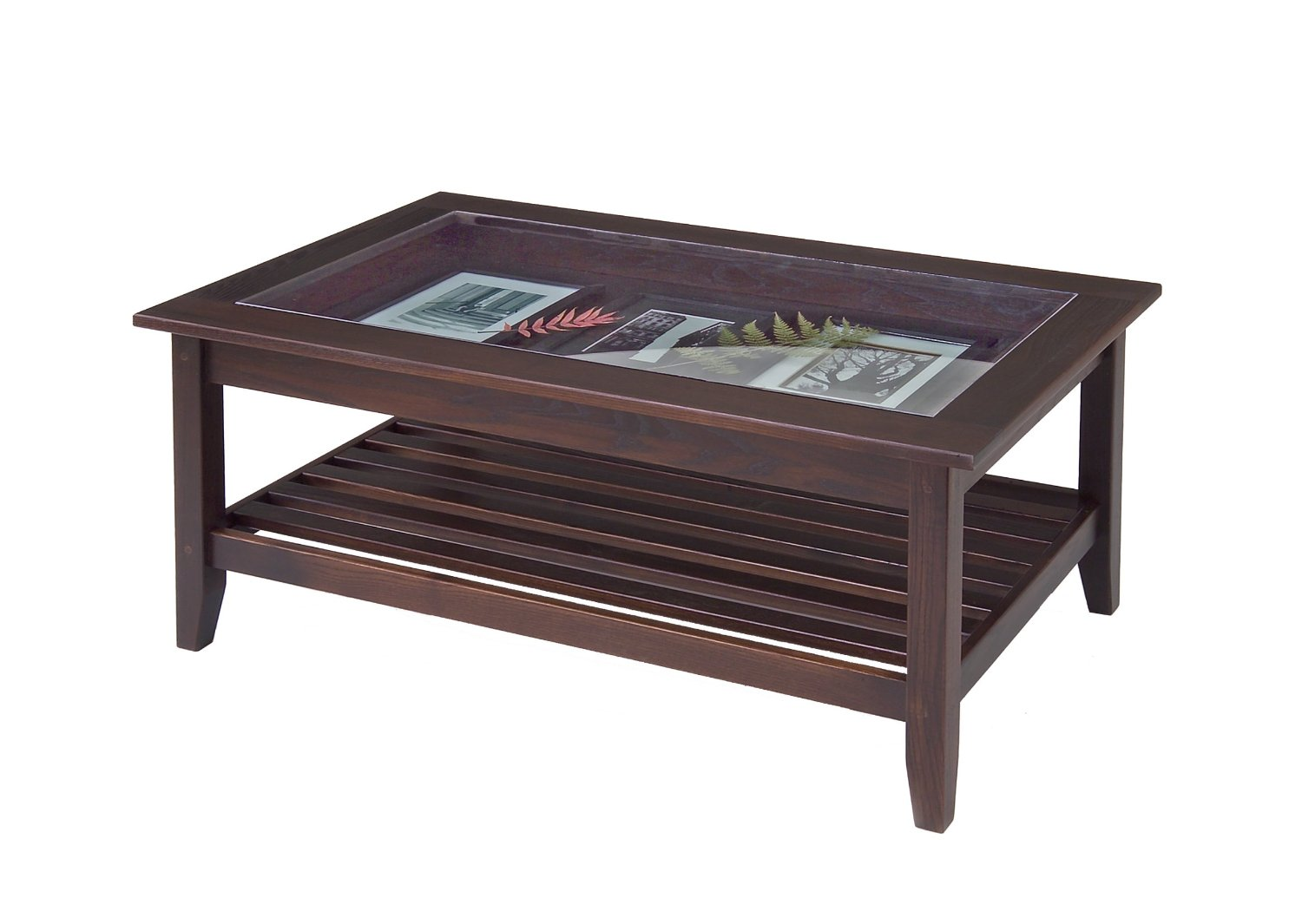 Dark Wood Coffee Table with Full-Width Glass-Top Display Case