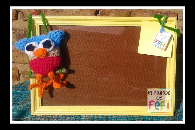 cuadro 30x20 - lechuza amigurumi - crochet - el mundo de fefi