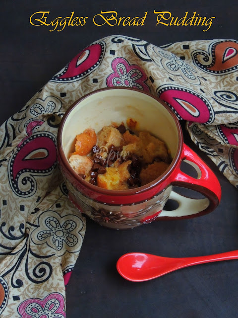 Eggless Bread Pudding, Microwave Eggless Bread Pudding