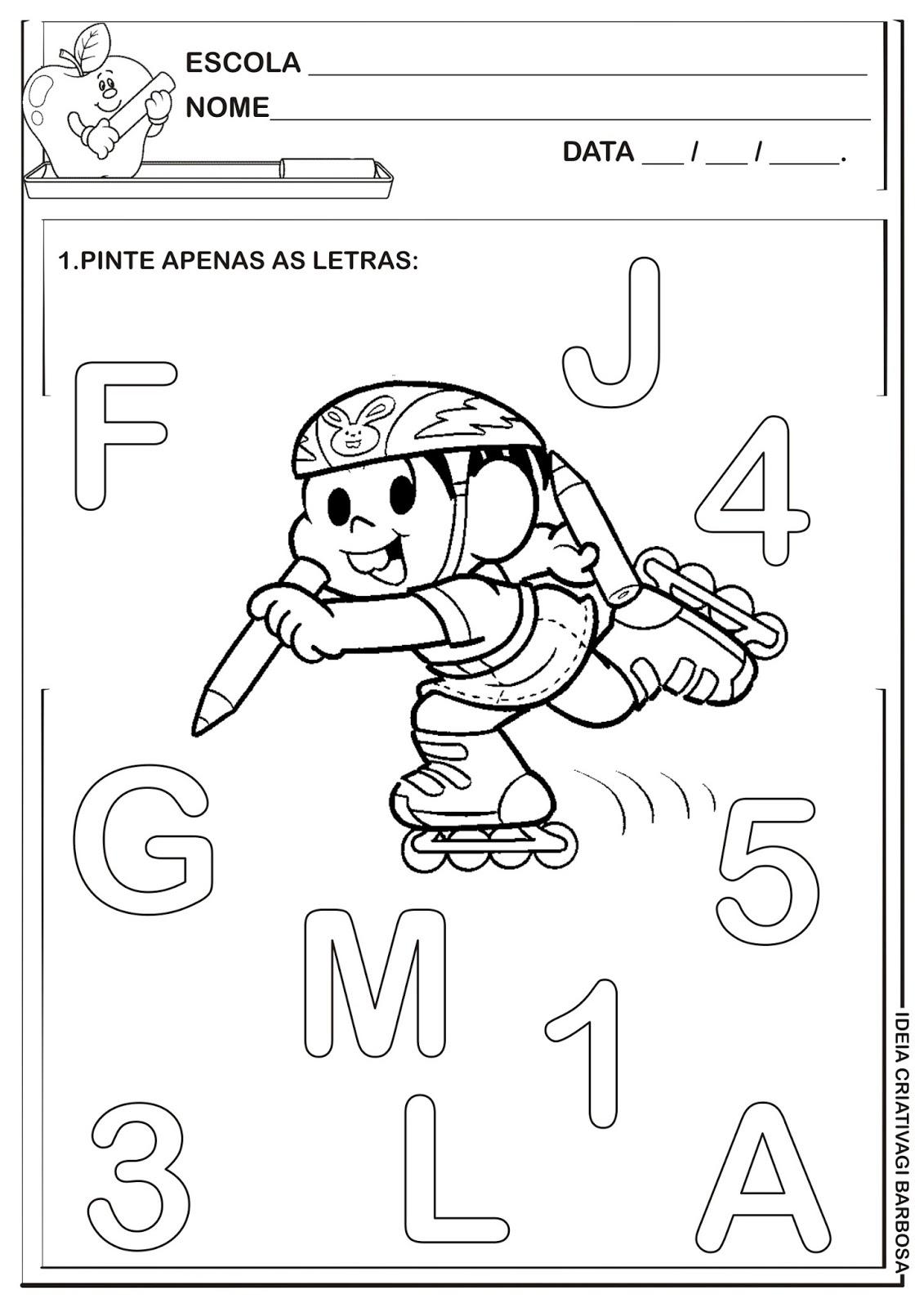 Excepcional Atividade Letra e Número Turma da Mônica | Ideia Criativa - Gi  VY26