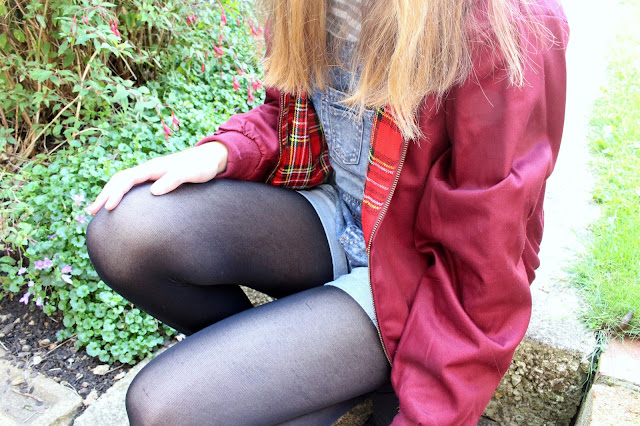 How I Style | Dungarees jacket tartan Harrington