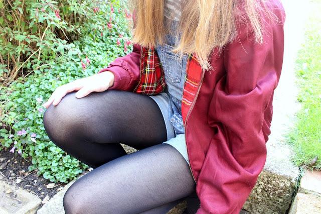 How I Style | Dungarees jacket tartan Harrington