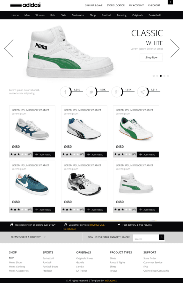 Flat E commerce Responsive web template