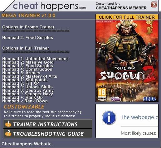 1Shogun Total War 2 Trainer