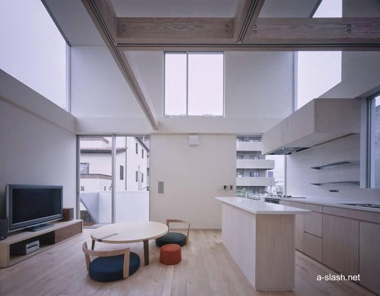 Imagen del renderizado del proyecto muestra el interior de la casa a nivel de la cocina y la sala