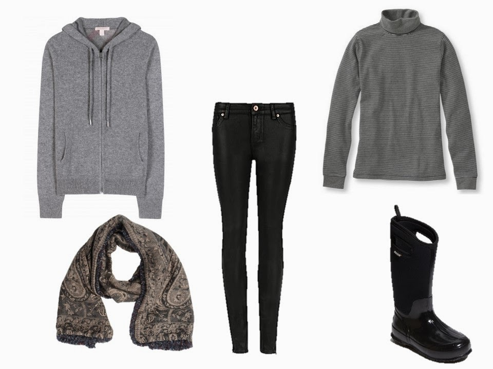 grey cashmere hooded sweatshirt, worn with a cotton turtleneck, black jeans, and snow boots