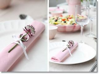 rosa dukning blomma servett