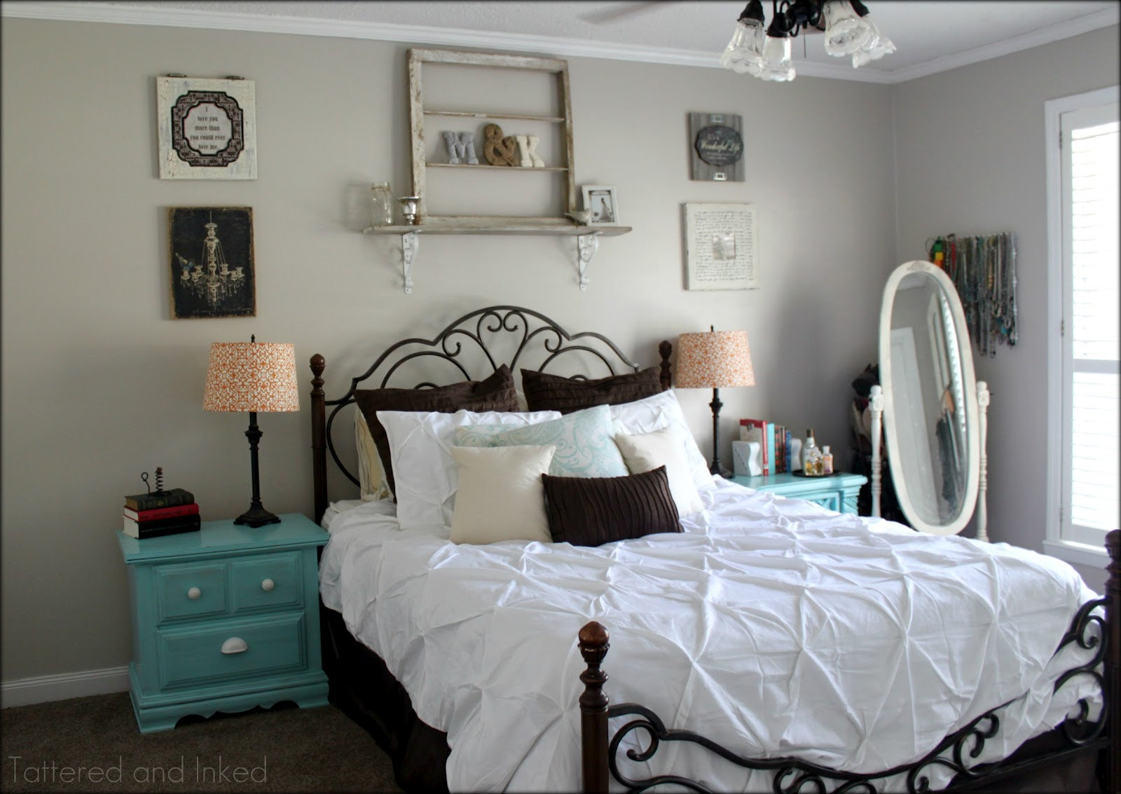 Tattered And Inked Aqua Tangerine Master Bedroom Redo