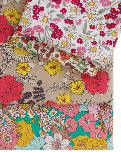 Floral Fabrics - medium and small scale retro feel