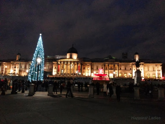 Trafalgar Square London night look