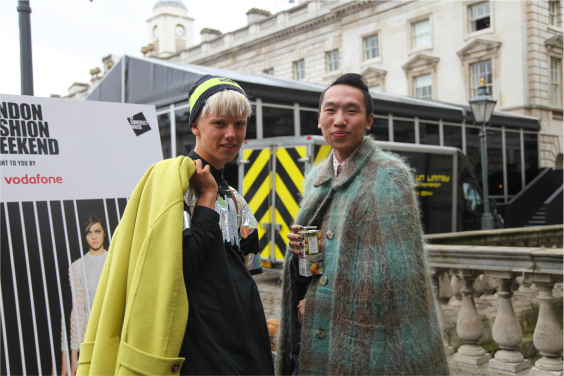 London Fashion Week streetstyle sequined top and oversized coats