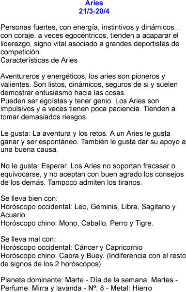 Aries caracteristicas