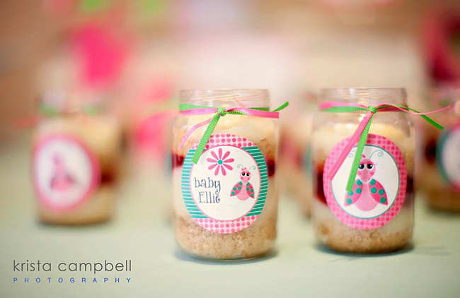 party favor idea for girls baby shower, lil ladybug party circles on candles