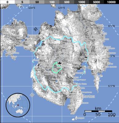 Epicentro sismo 5,5 grados en Mindanao, Filipinas, el 02 de Junio 2013