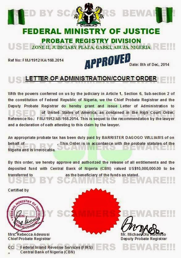 FRAUD FYI Fake Deposit Certificate Affidavit Claim Of