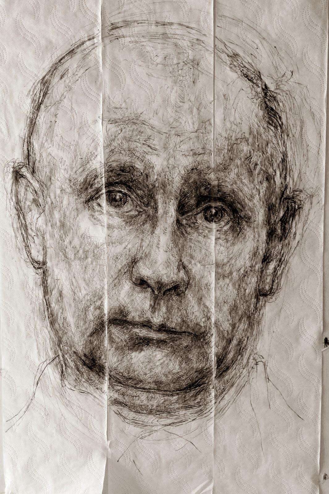 """Artistas del Barrio"", ""Lavapiés"", ""Vladimir Putin"", ""Vladímir Putin"", ""bolígrafo"", ""dibujo"", ""líder"""