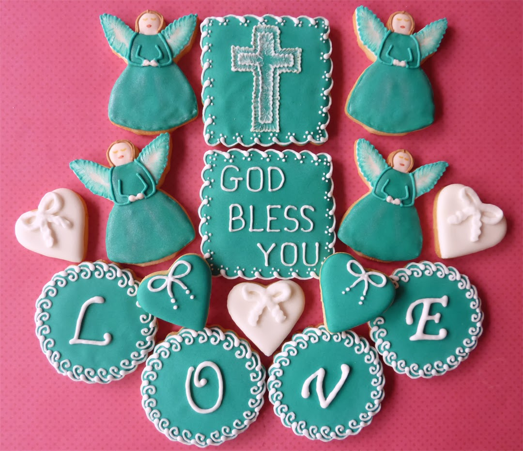 Turquoise Christening Cookies