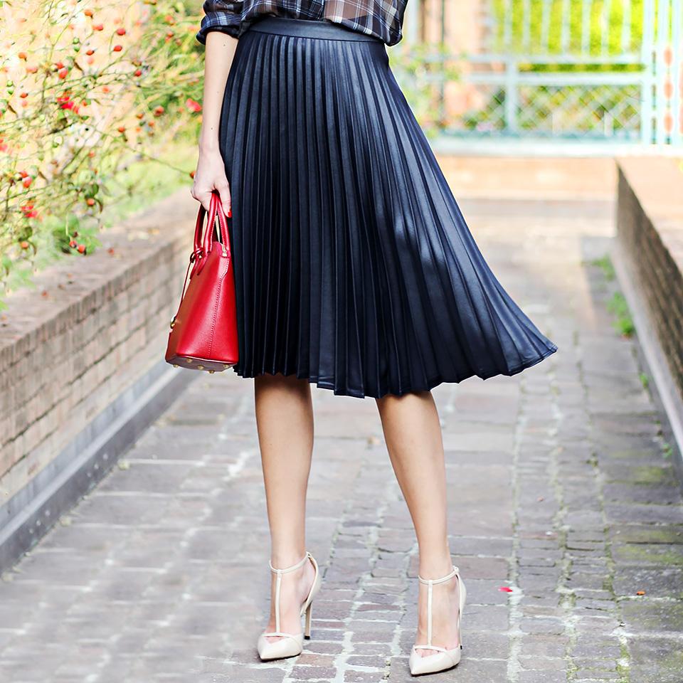 pleated midi skirt, red mini bag, tartan blouse, fall outfit
