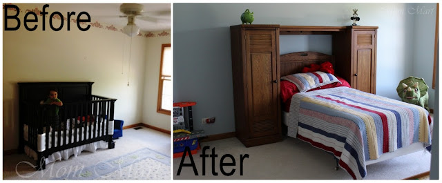 Before and after room change