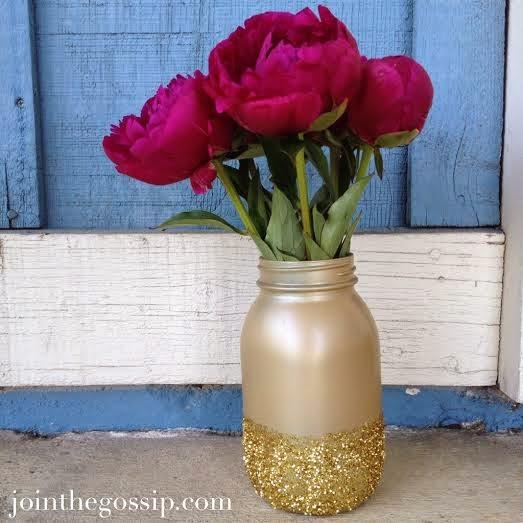 DIY Glitter Mason Jar Vase
