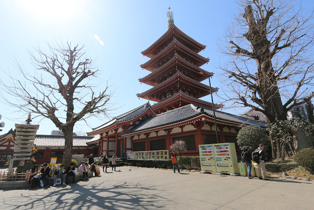 A five-story pagoda at the main temple's hall of Asakusa Sensoji Temple in Tokyo, Japan