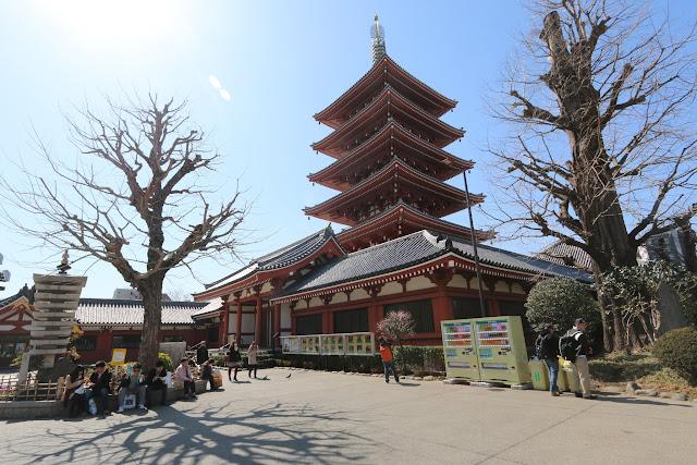 A five-story pagoda at the main temple's hall of Asakusa Sensoji Temple in Tokyo, Japan