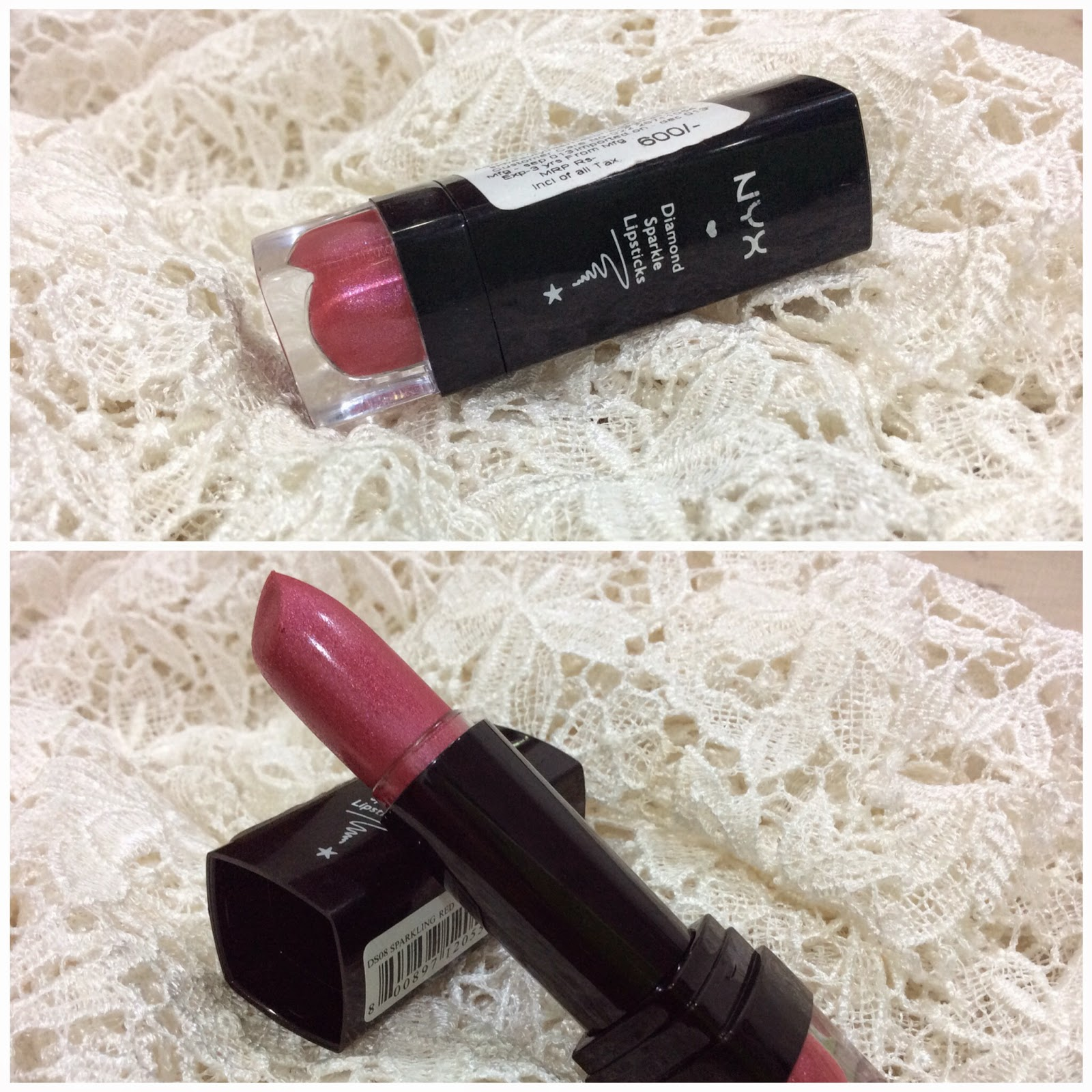 Blog Sale - NYX Diamond Sparkle lipstick Sparkling Red