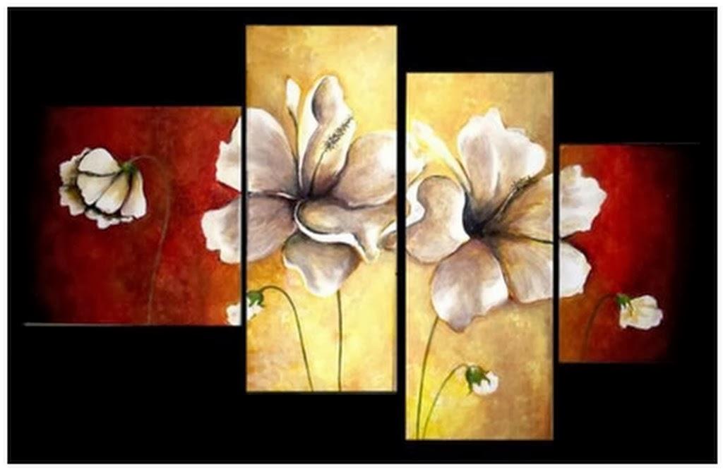 Flores abstractos con flores modernas pintados al oleo for Cuadros de oleo modernos