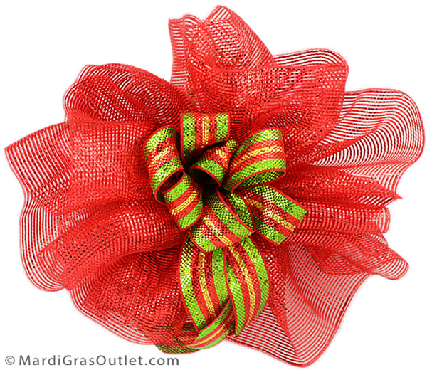 Large Christmas doublle bow made out of deco mesh