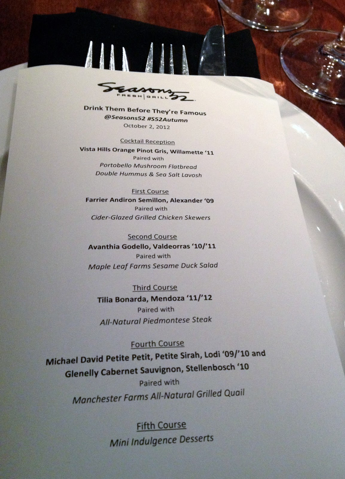 an autumn menu tasting at seasons 52