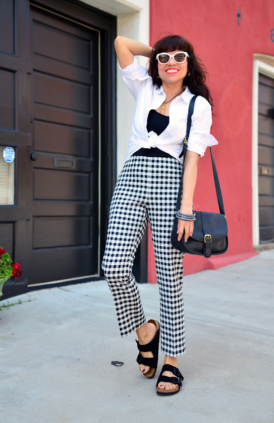 Birkenstocks with gingham plaid pants