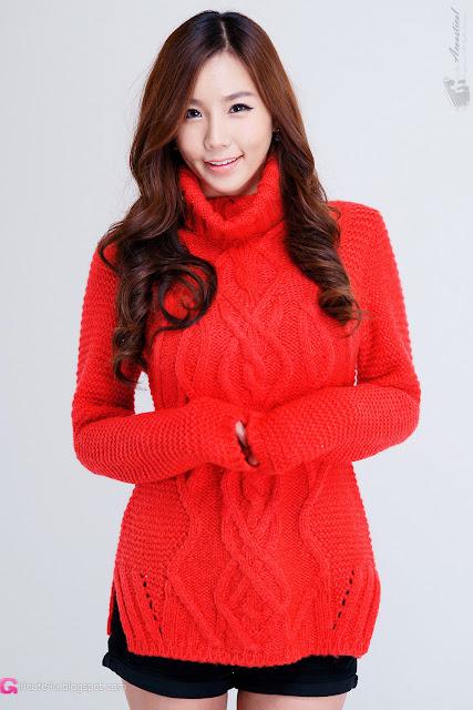 4 Lee Ji Min in Sweet Red-Very cute asian girl - girlcute4u.blogspot.com