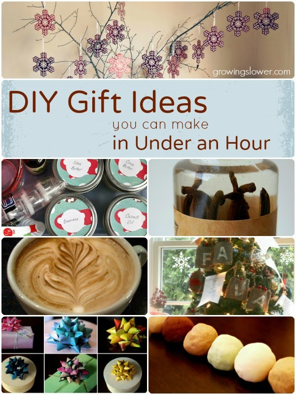DIY Gift Ideas you can make in Under an Hour. The list includes gifts for kids, babies, women, men, and even stocking stuffers, gift wrap, and Christmas decorations.  www.growingslower.com #cheapgift #easydiy