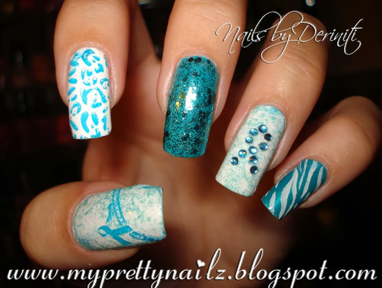 Pcos And Ovarian Cancer Awareness Nail Art Design Video Tutorial Teal Ribbon