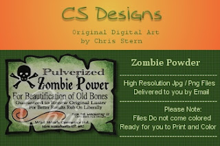 Halloween apothecary Zombie Powder pictorial sentiment digital stamp