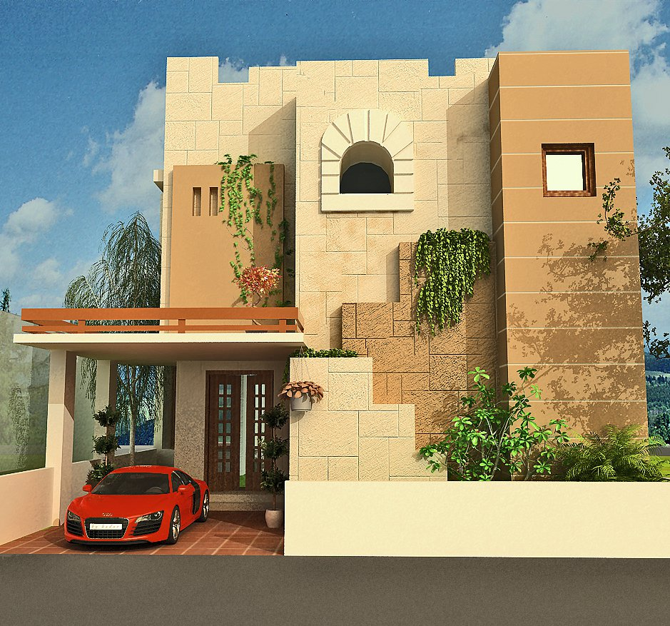 3d front 3d home design front elevation for Latest house elevation