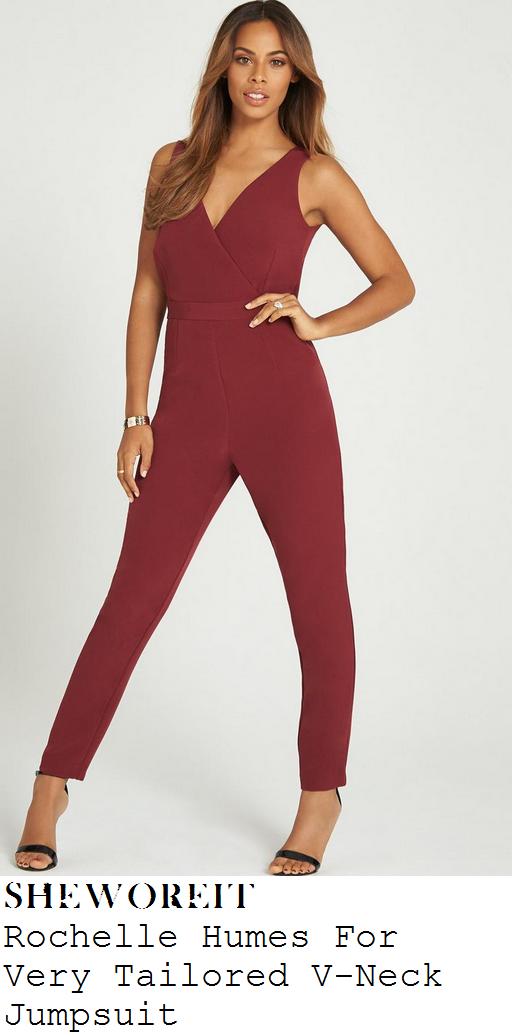 rochelle-humes-wine-purple-sleeveless-tailored-jumpsuit-xtra-factor