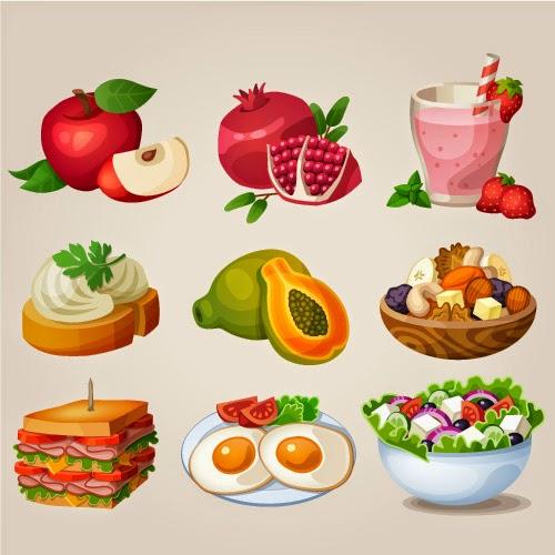 Alimentos sanos y ligeros - vector