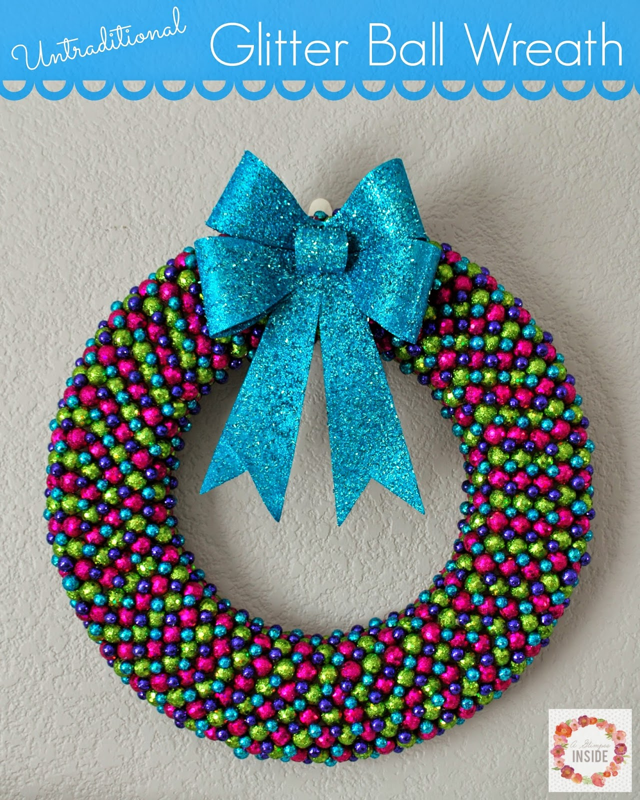 and when i spotted what i created it with my glitter ball wreath was born - Christmas Ball Wreath