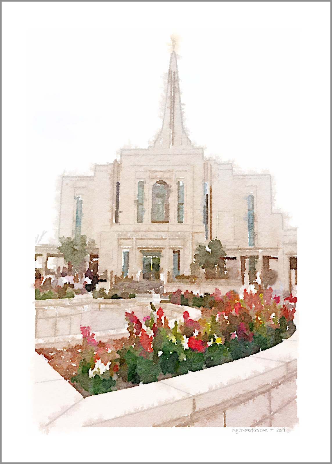 Free Printable Watercolor Image of the Gilbert LDS Temple at my3monsters.com