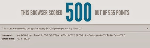 Tizen SC-03F Smartphone Hit High in HTML5 Test