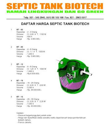 daftar harga septic tank biotech, biomaster, biofil, biotank, biogift