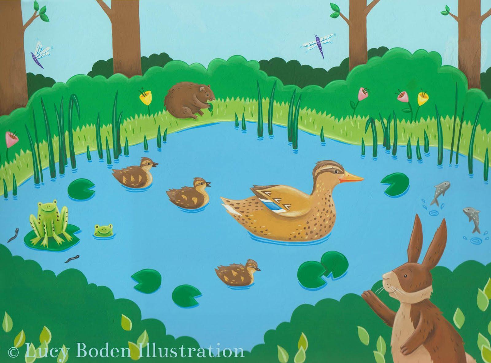 Cartoon duck pond for Duck pond water