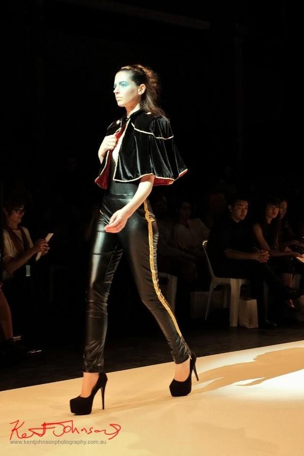 Victoria McGuigan, Cape and pants - New Byzantium : Raffles Graduate Fashion Parade 2013 - Photography by Kent Johnson.