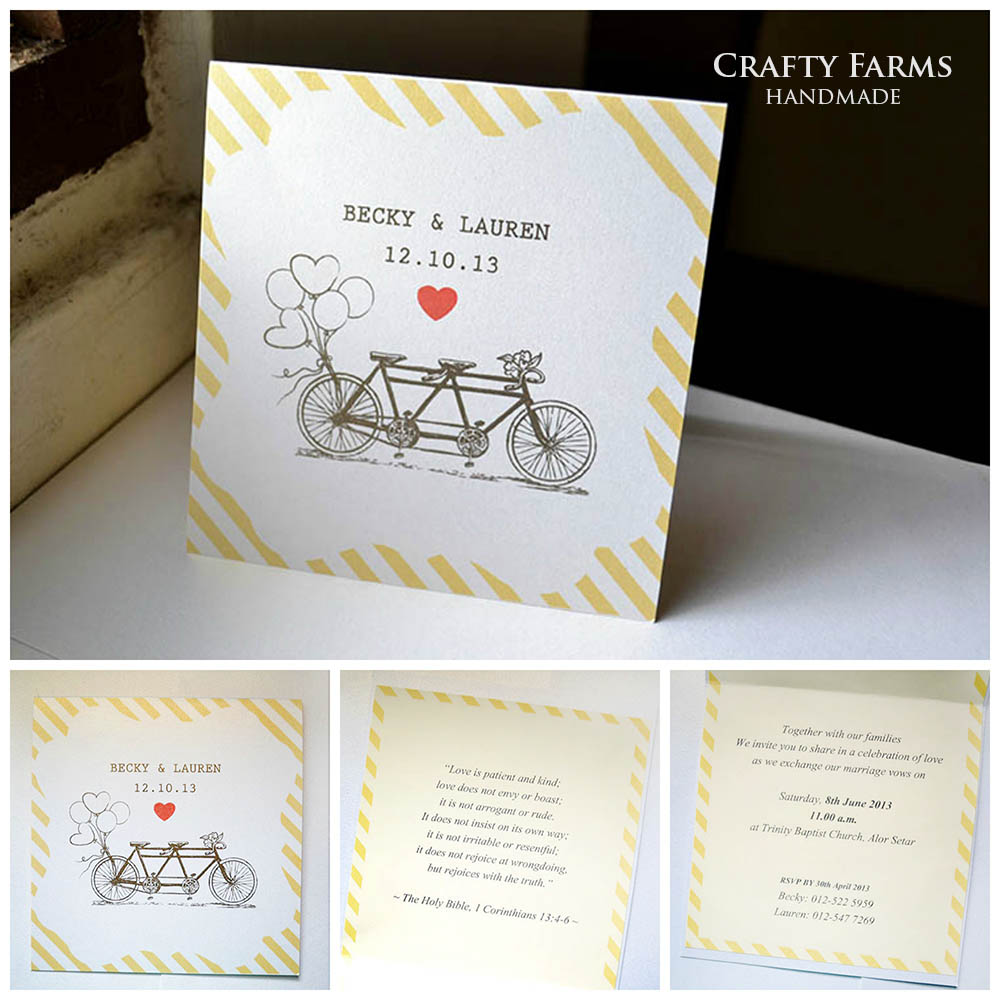 Vintage Tandem Bicycle Wedding Invitation Card