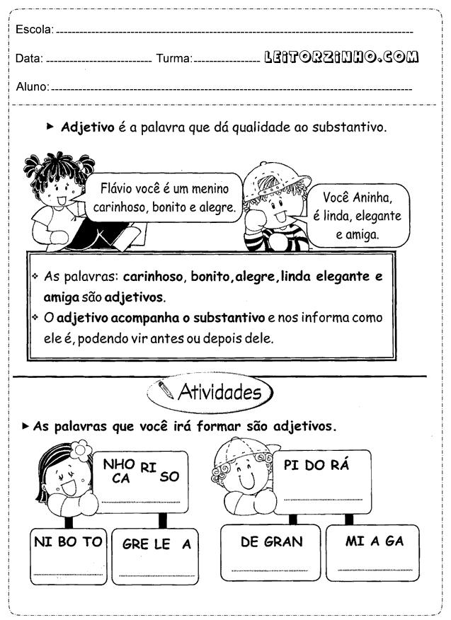 Muito Leitores: Atividades português 4° ano adjetivos QU72